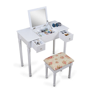 ViscoLogic Wooden Mirrored Makeup Vanity Table & Cushioned Stool (FlaT top) White