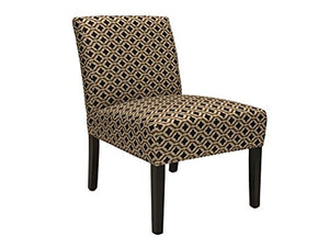 ViscoLogic Ashely Contemporary Pattern Fabric Upholstered Wooden Accent Chair with Thick padded Backrest and Seat (Clove, 1)