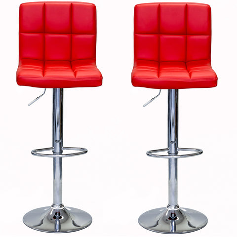 ViscoLogic LIBERTY Swivel Leatherette Adjustable Hydraulic Bar Stool - Set of 2