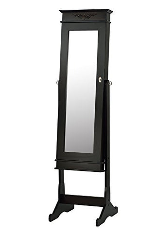 ViscoLogic Free Standing Jewelry Armoire with Mirror (Brown)