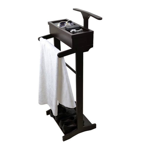 ViscoLogic Wooden Valet Stand - Cherry Finish