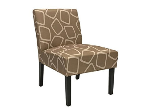 ViscoLogic Ashely Contemporary Pattern Fabric Upholstered Wooden Accent Chair with Thick padded Backrest and Seat (Aevum, 1)