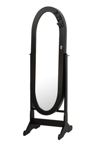 ViscoLogic OVAL Mirrored Jewelry Cabinet Armoire Stand - Dark Brown
