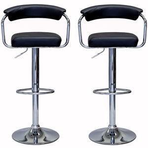 ViscoLogic EMERALD Adjustable Height Swivel Bar Stools with Armrests (Set of 2)