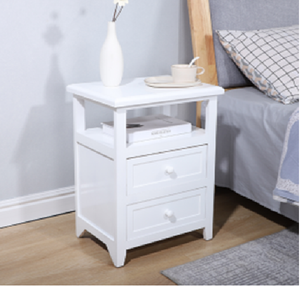 ViscoLogic Glady Night Stand, End Table with Shelf Cabinet and Drawers Storage (White)