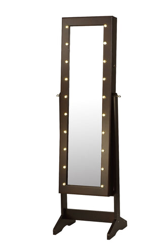 ViscoLogic Wooden Free Floor Standing Jewelry Organizer Mirrored Cabinet with LED lighting face
