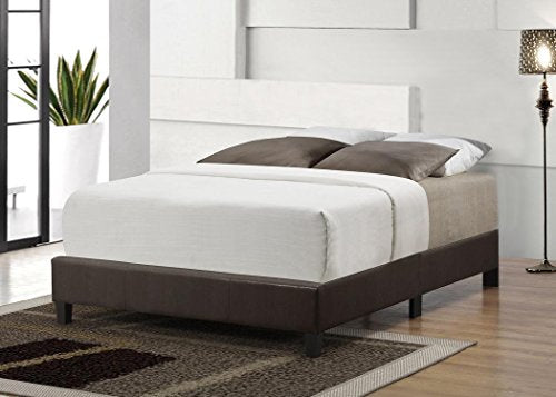 ViscoLogic Leatherette Upholstered Platform Bed Base (Brown) Full