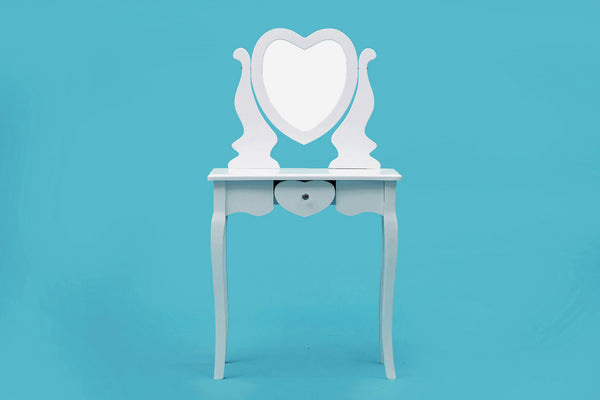 ViscoLogic Wooden Mirrored Makeup Vanity Dresser Table & Cushioned Stool Set (Heart-White)