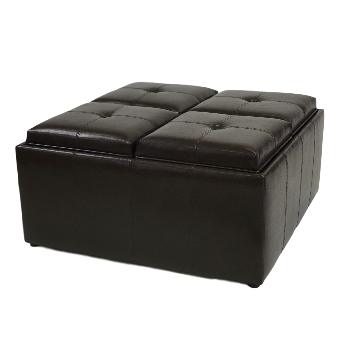 ViscoLogic Collection Square Coffee Table Storage Ottoman with 4 Serving Trays (Dark Brown)