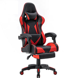 ViscoLogic Strada X Gaming Racing Sports Styled Ergonomic Recliner Home Office Chair with Footrest (Black & Red)