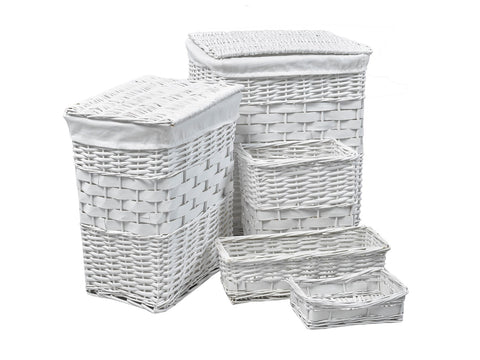 Willow Basket ViscoLogic Willow Wicker Basket (Set of 5 Baskets) Ivory White