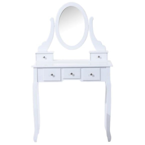 ViscoLogic IVORY Wooden Mirrored Makeup Vanity Table (White)