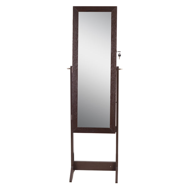 ViscoLogic Mirrored Jewelry Cabinet Armoire. Space for Necklaces, Bracelets, Rings, Earrings, Cuff-links, Ties and more (Brown NextGen)