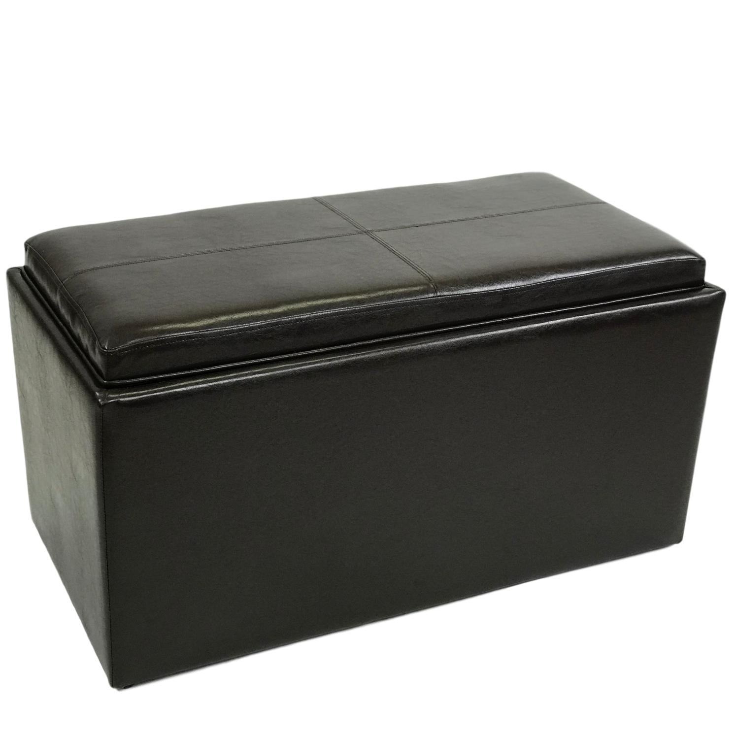 ViscoLogic 3-Piece Rectangular Storage Ottoman WIth Serving Tray & 2 Small Ottomans (Dark Brown)