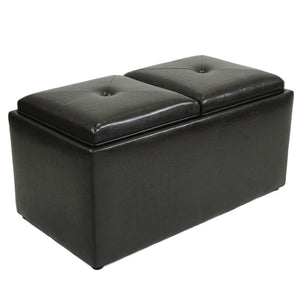 ViscoLogic Rectangular Storage Ottoman With 2 Serving Trays (Dark Brown)