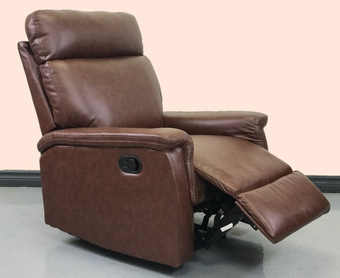 ViscoLogic RITZ Manual Reclining Premium Metal Padded Sofa Leather Armchair (Brown)