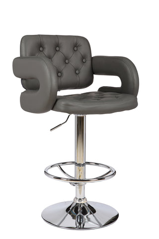 ViscoLogic WESTMINSTER 24 to 33 inch height adjustable tufted bar stool (Single Stool)
