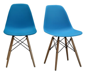 ViscoLogic Prague High Back Molded Plastic Side Dining Chair with Natural Wood Legs (Set of 2) Deep Sky Blue