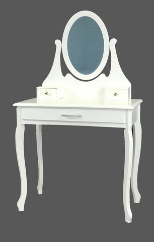 Viscologic Cherish Wooden Mirrored Makeup Vanity Dressing Table with Stool (White)