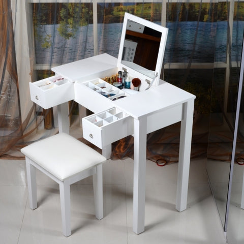 ViscoLogic Wooden Makeup Vanity Dressing Table With Stool (Leatherette Square)