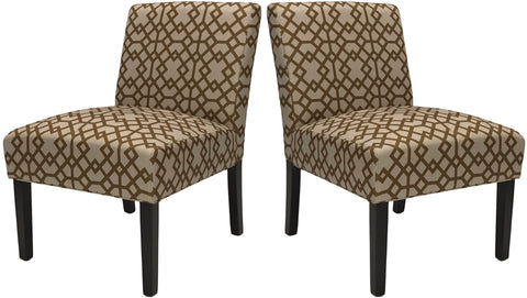 ViscoLogic Ashely Contemporary Pattern Fabric Upholstered Wooden Accent Chair with Thick padded Backrest and Seat (Persia, 2)