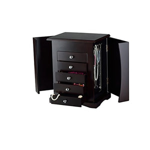 ViscoLogic Wooden Table Top Jewelry Armoire Chest with Lift Top Mirror