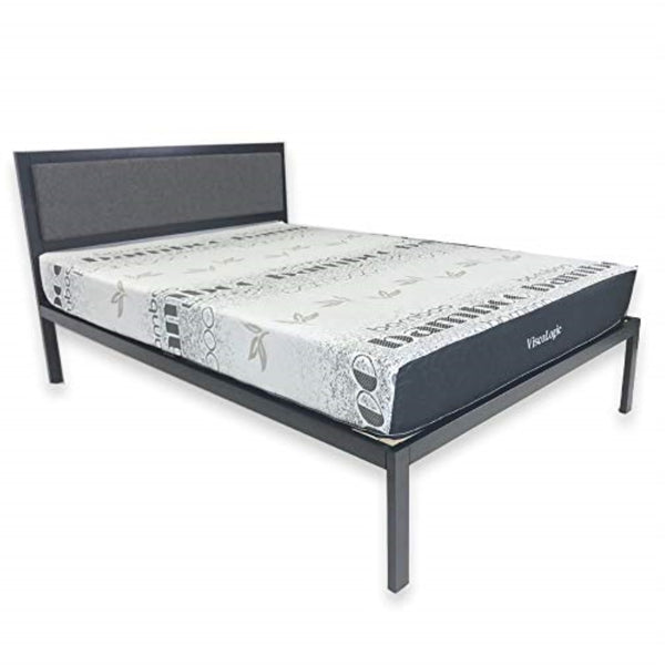 "ViscoLogic Platform Metal Bed with 8"" Memory Foam Mattress Set (Queen)"