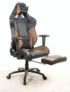 7608-C02 BRN BLK ViscoLogic Series RAPTOR Gaming Racing Style Height Adjustable, Tilt Look, 360 Swivel, Home Office Chair with Adjustable Legs Support (Orange Black)