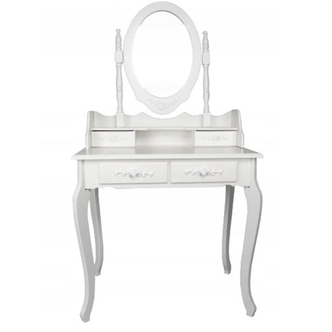 ViscoLogic Pearl Wooden Mirrored Makeup Vanity Table (White)