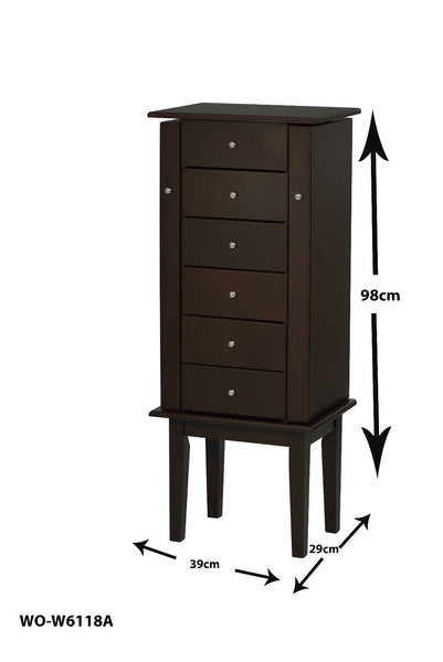 ViscoLogic Jewelry Armoire with Flip-Top Mirror (Brown)