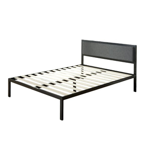 ViscoLogic Platform Metal Bed Frame with Upholstered Headboard/Mattress Foundation/Wood Slat Support
