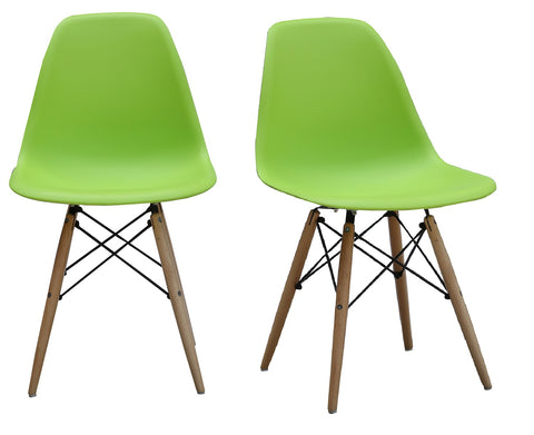 ViscoLogic Prague High Back Molded Plastic Side Dining Chair with Natural Wood Legs (Set of 2 Lawn Green)