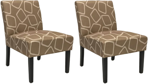 ViscoLogic Ashely Contemporary Pattern Fabric Upholstered Wooden Accent Chair with Thick padded Backrest and Seat (Aevum, 2)