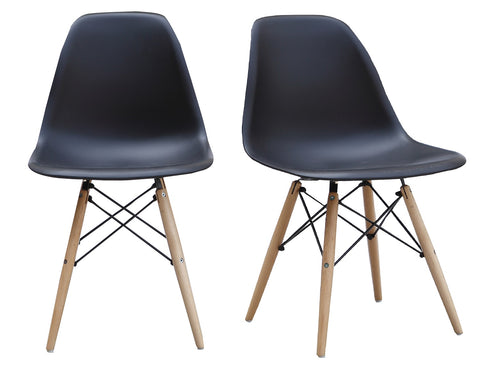 ViscoLogic Prague High Back Molded Plastic Side Dining Chair with Natural Wood Legs (Set of 2) Graphite Black