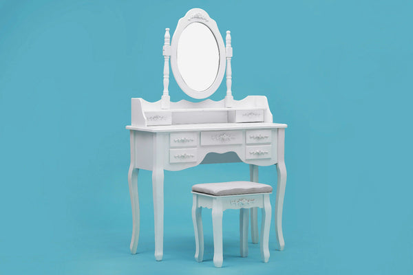 ViscoLogic Wooden Mirrored Makeup Dresser Vanity Table & Cushioned Stool Set (Oval White - Big)
