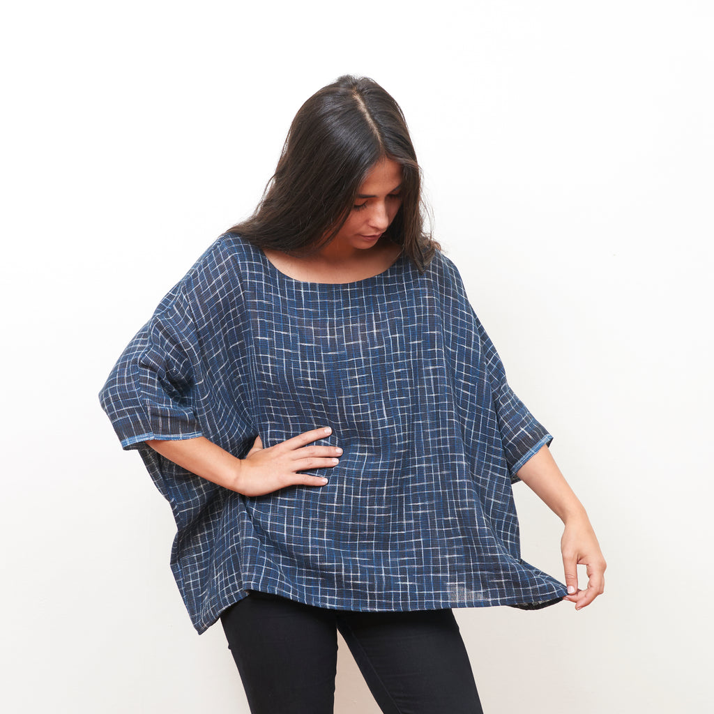 Banyan Top - Organic Cotton - Indigo Ikat