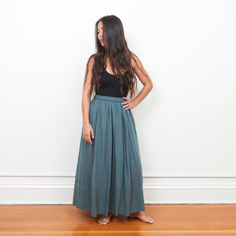 Tulsi Skirt - Teal Olive Stripe - Cotton