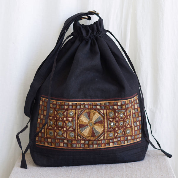 Kachchh Embroidery - Linen Drawstring Bag - Pattern A