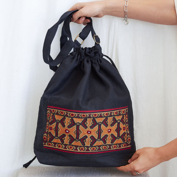 Kachchh Embroidery - Linen Drawstring Bag - Pattern B