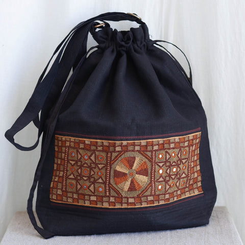 Kachchh Embroidery - Linen Drawstring Bag - Pattern C