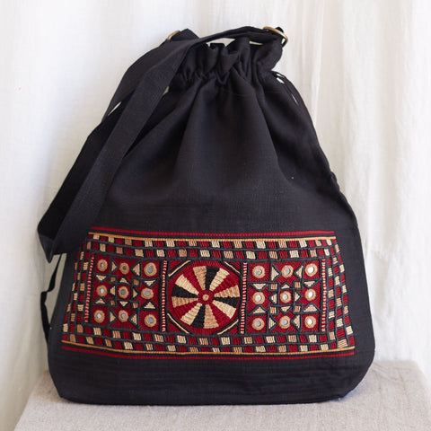 Kachchh Embroidery - Linen Drawstring Bag - Pattern D