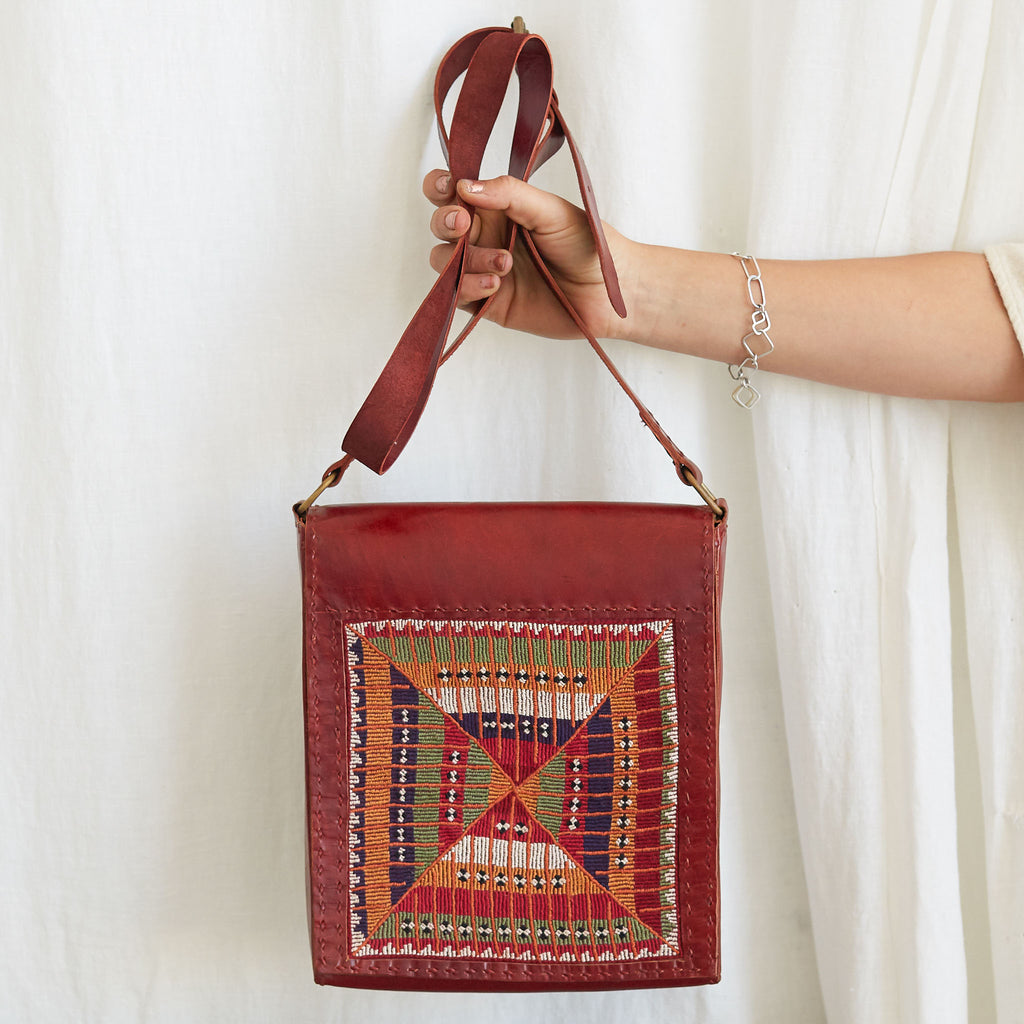 Banjara Embroidery - Red Leather Shoulder Bag - Pattern 1