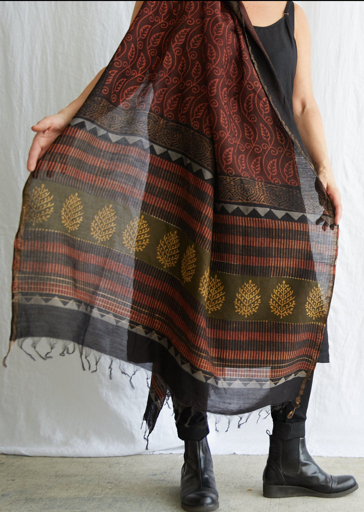 Dabu - Silk Cotton Shawl - Madder Leaf