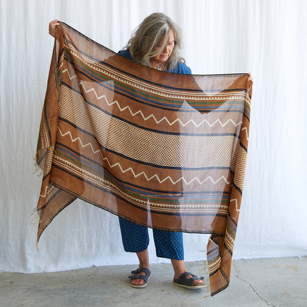 Dabu - Silk Cotton Shawl - Desert Sand