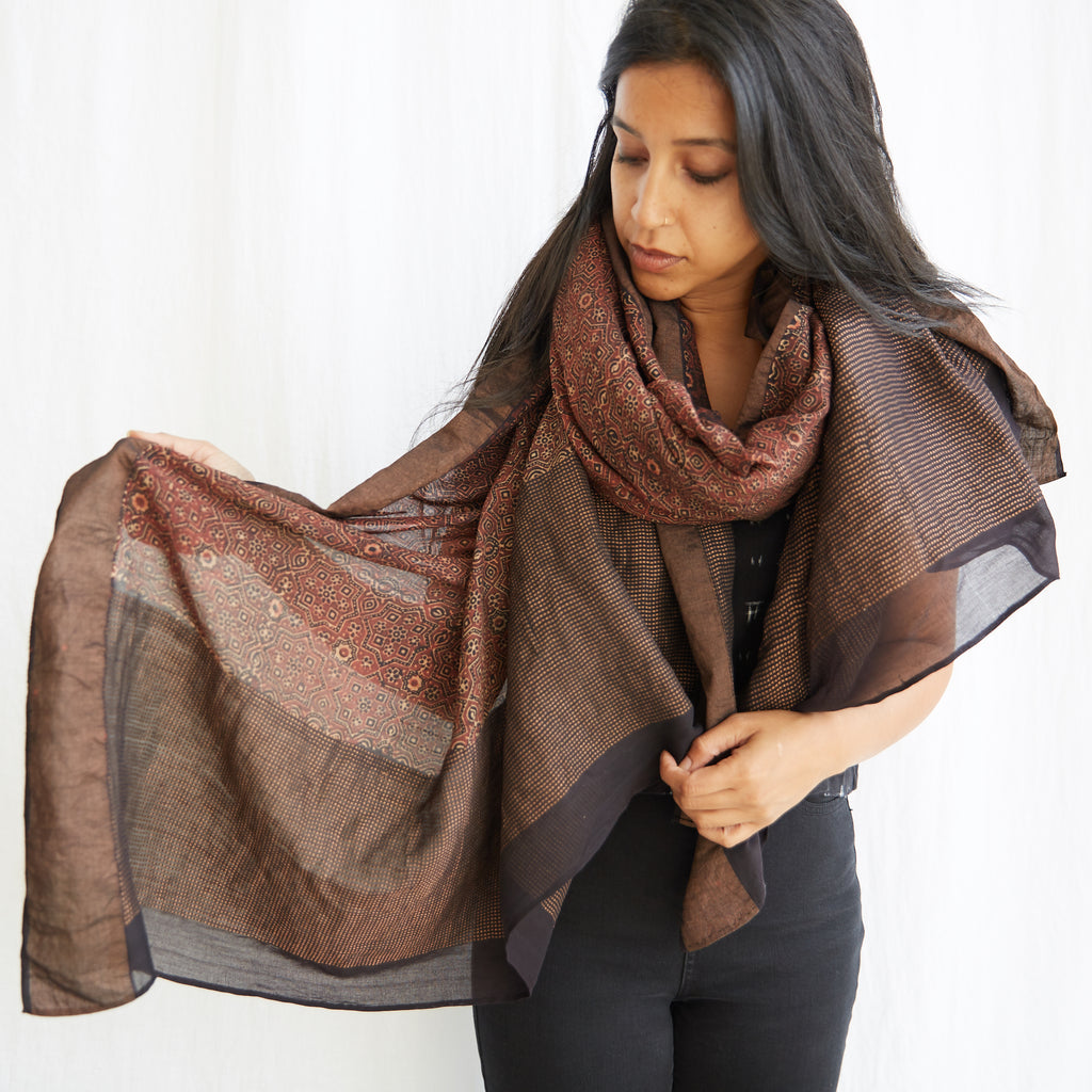 Ajrakh - Silk Cotton Shawl - Madder Classic