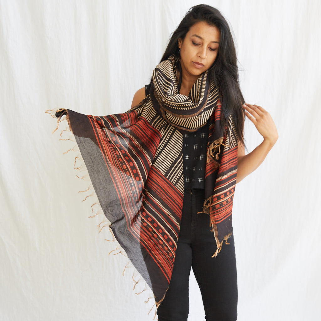 Dabu - Silk Cotton Shawl - Bold Lines