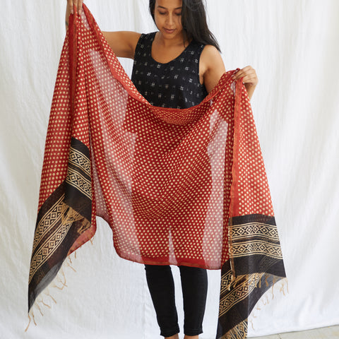 Dabu - Silk Cotton Shawl - Madder & Dots