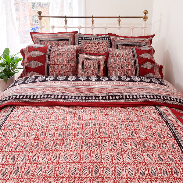 Organic Cotton Duvet  Cover - Bagh Print - Red Mango Paisley