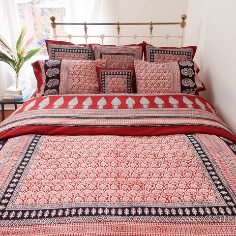 Organic Cotton Duvet  Cover - Bagh Print - Red Rustic Palm
