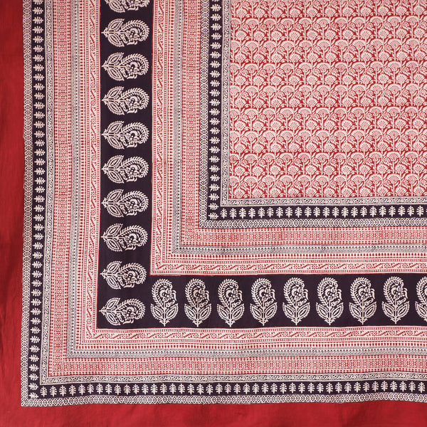 Organic Cotton Tablecloth - Bagh Print - Red Rustic Palm